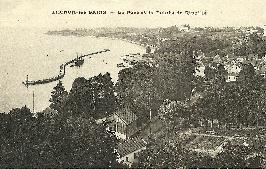 Carte postale Thonon - port et pointe Ripaille v.1925-28